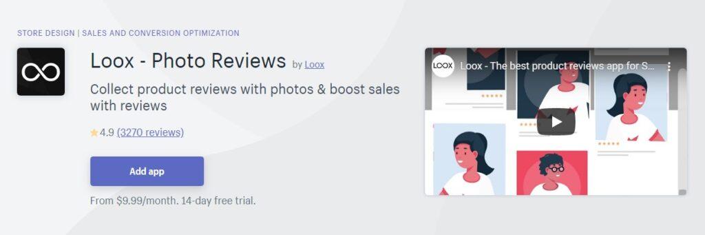 loox app shopify, plak theme