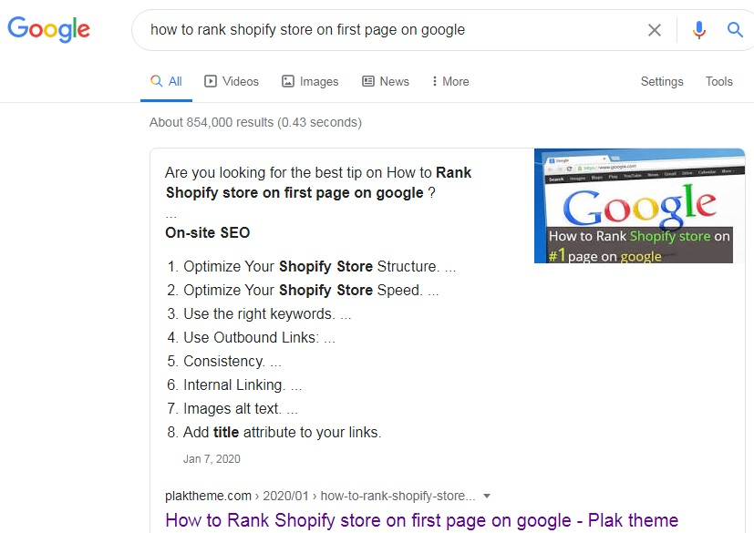 rank shopify store on first page of google